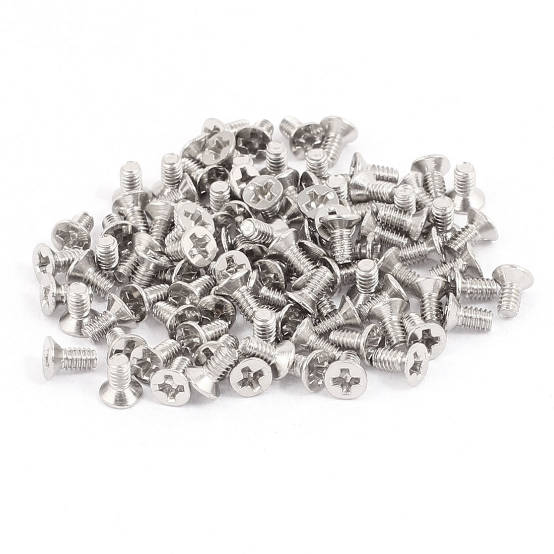 100pcs M2x4mm Stainless Steel Countersunk Phillips Flat Head Machine Screw Bolts