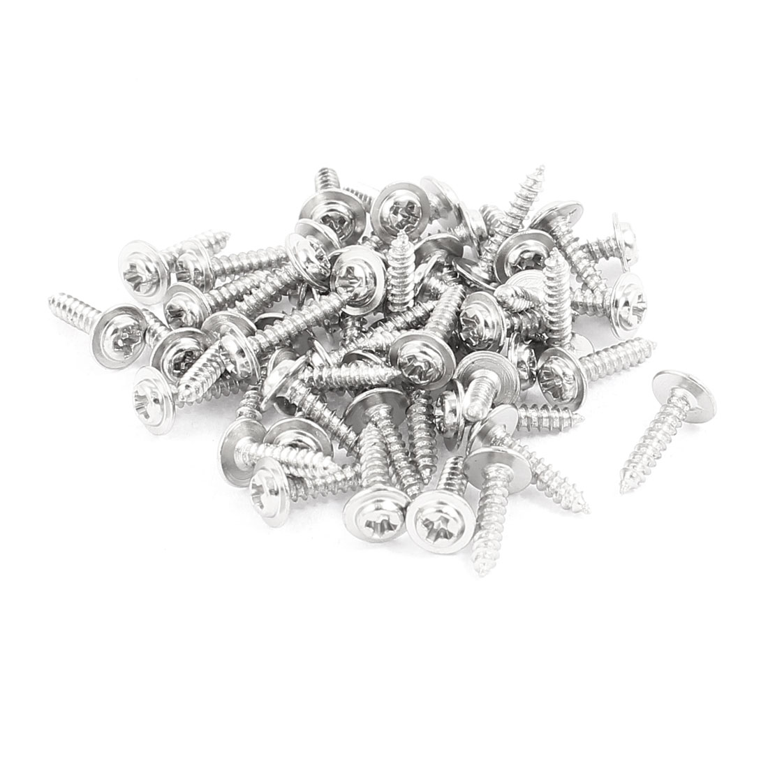 50pcs 10x2mm Stainless Steel Phillips Head Self Tapping Screw(PWA) With Washer