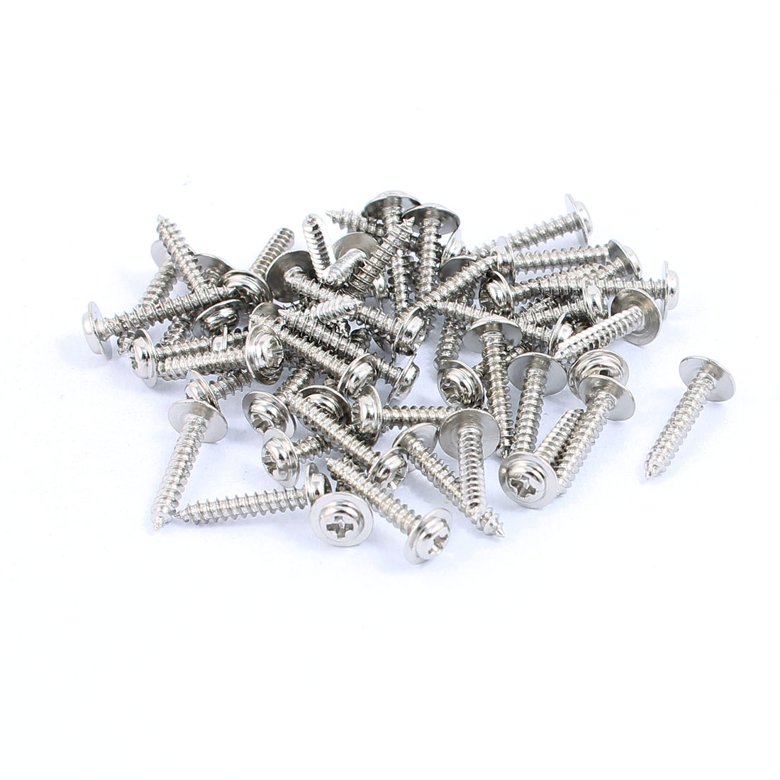 50pcs 2x12mm Stainless Steel Self Tapping Screw Round Phillips Head With Washer