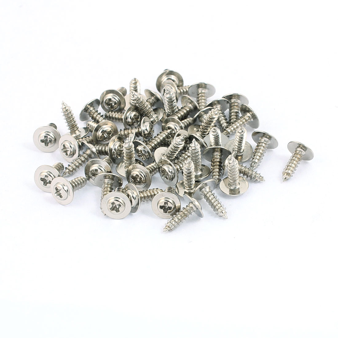 50pcs 8x2.3mm Stainless Steel Self Tapping Screw Round Phillips Head With Washer