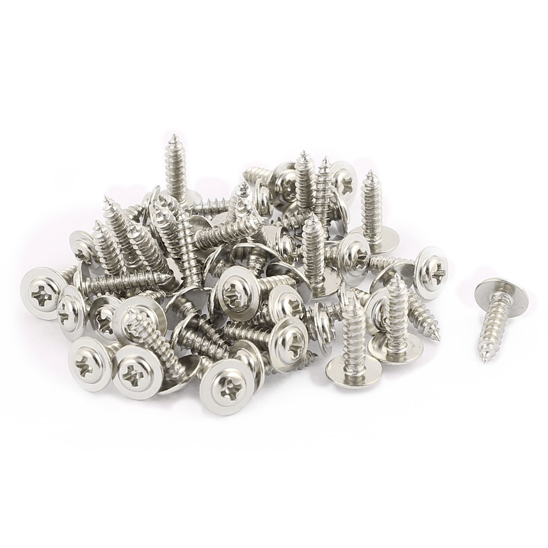 10x2.5 Stainless Steel Phillips Head Self-Tapping Screw with Washer Fastener x50