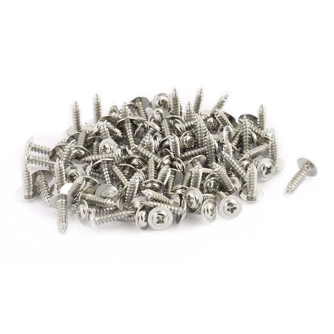 100pcs 10x2.5 Stainless Steel Round Head Self-Tapping Screw with Washer Fastener