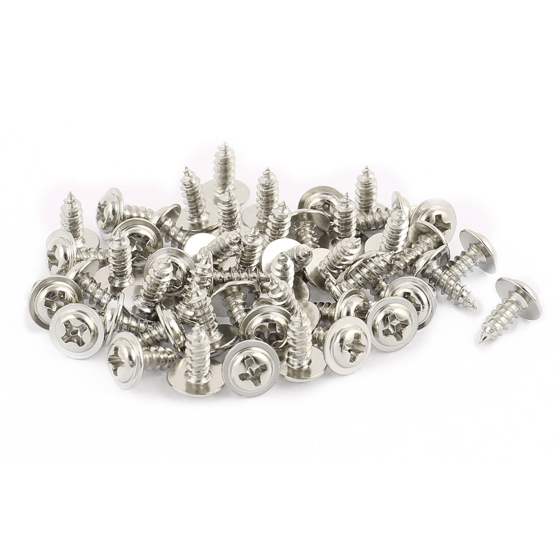 50pcs 3x8 Stainless Steel Phillips Head Self-Tapping Screw with Shoulder Washer