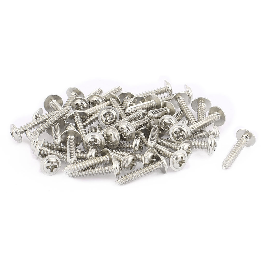 50pcs 16x3 Stainless Steel Phillips Head Self-Tapping Screw with Shoulder Washer