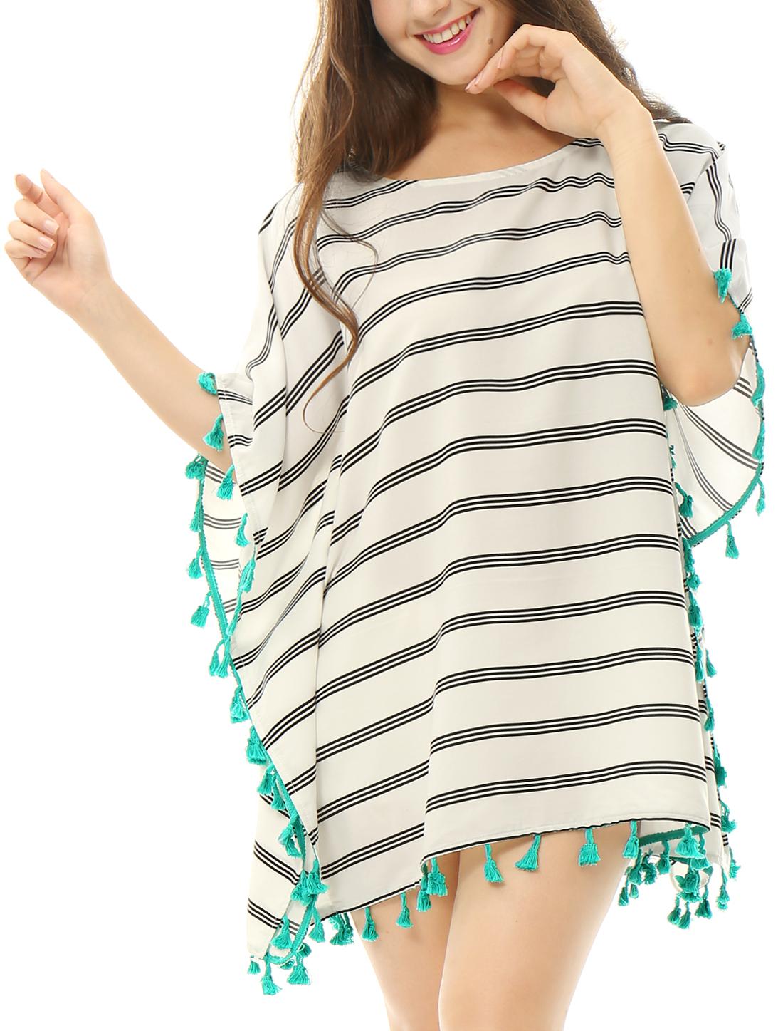 Women Tassel Trim Loose Stripes Cover Up Tunic Top White M
