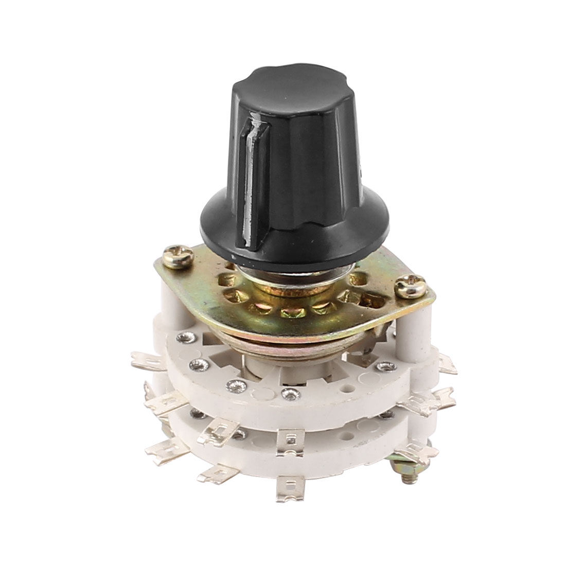 KCZ 4 Pole 4 Throw 6mm/0.24inch Shaft Band Channel Rotary Switch Selector w Cap