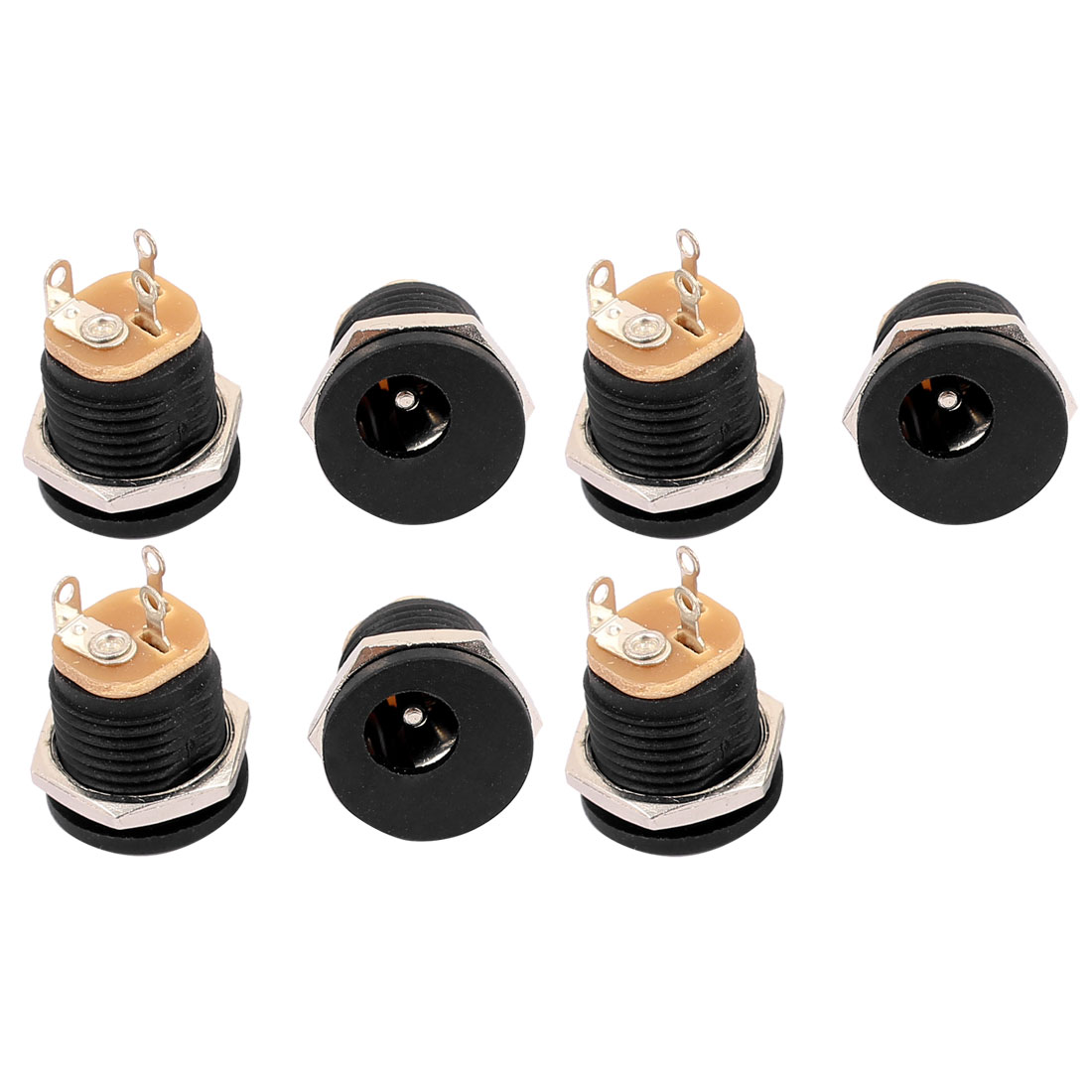 7Pcs 5.5x2.1mm DC Power Supply Jack Socket Outlet Female Panel Mount Connector Adapter