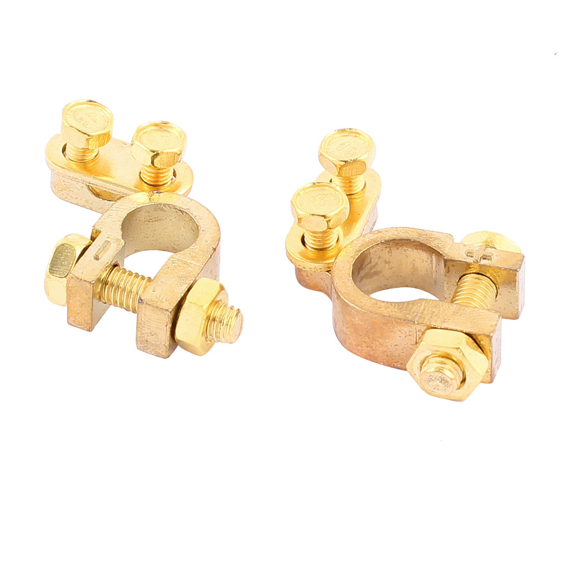 Pair Car Battery Terminal Clamp Screw Connection Positive Negative Brass Cable Fitting