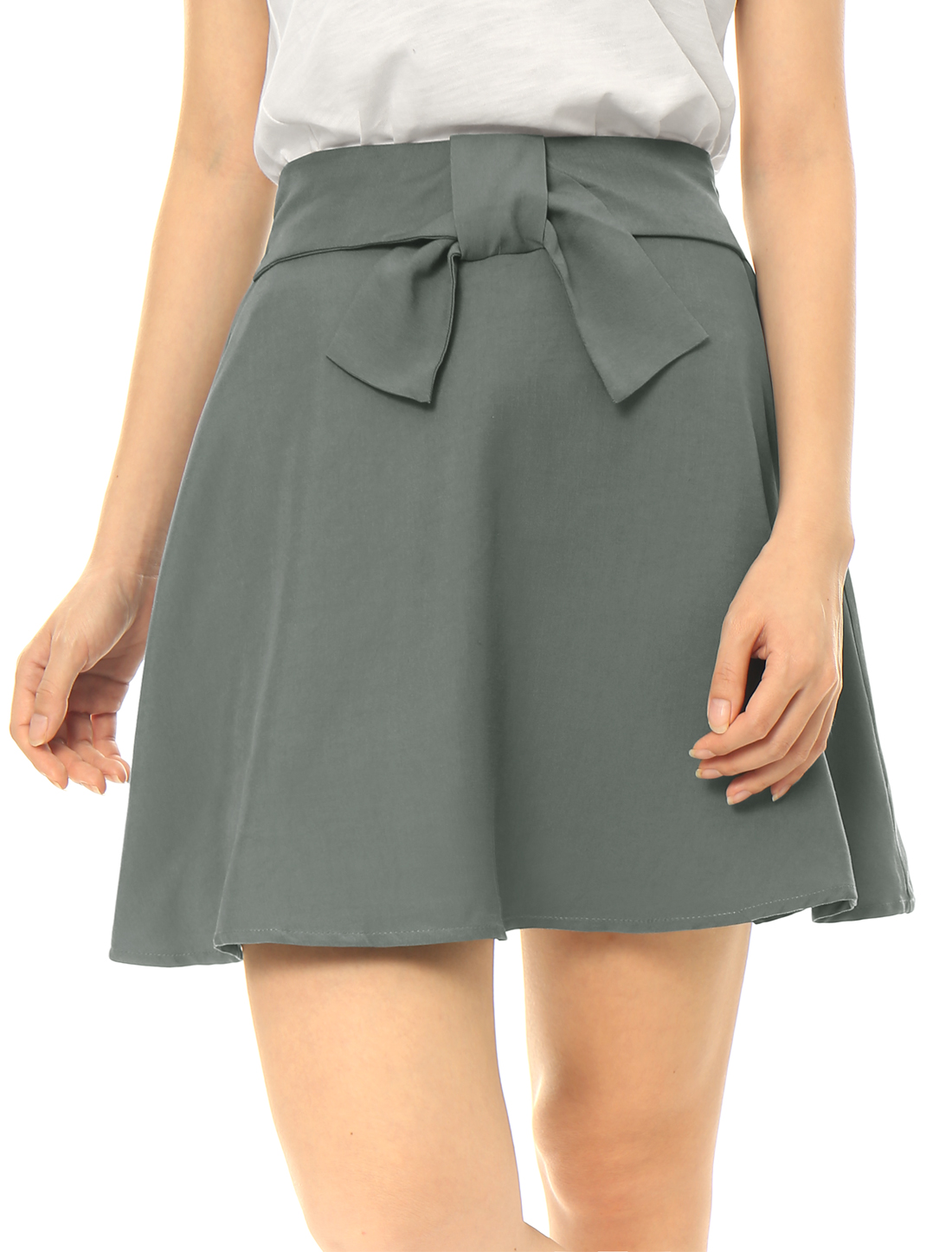 Women Partial Elastic Waist Bow Front Above Knee A-Line Skirt Gray L