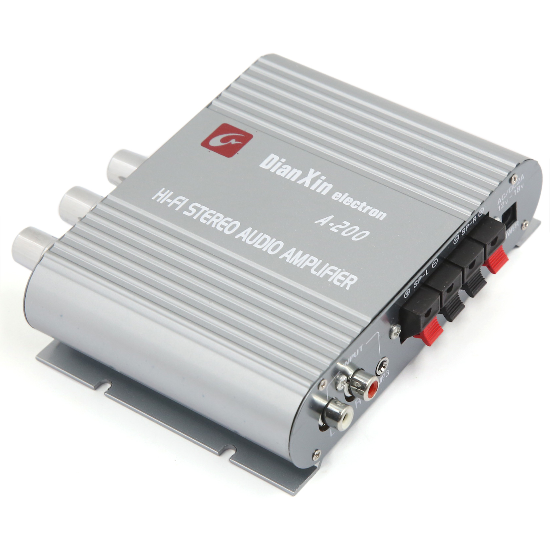 Universal 85dB Mini Hi-fi 200W Stereo Audio Power Amplifier Gray for Car