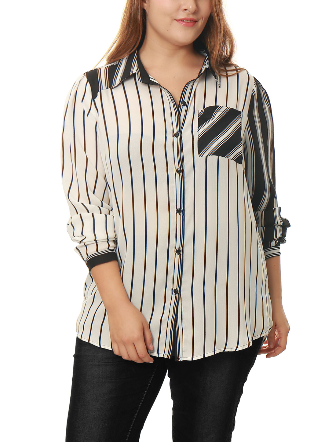 Women Plus Size Mixed Stripe Buttoned Sheer Chiffon Loose Shirt White 2X