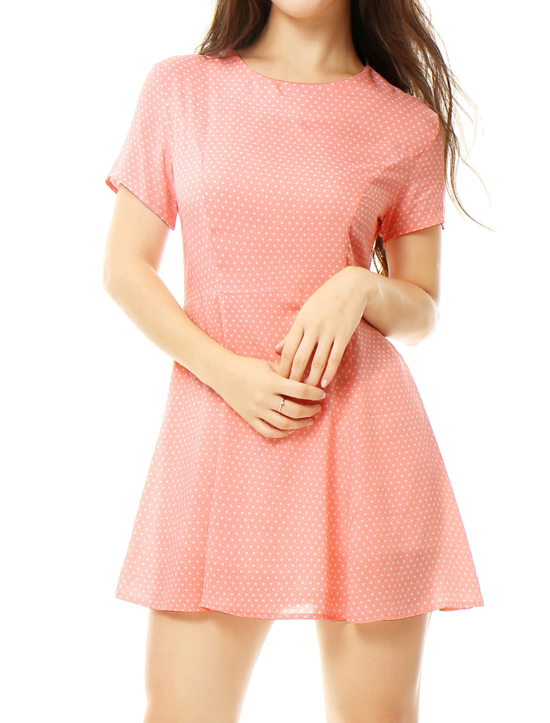 Women Polka Dots Lace Up Back Short Sleeves A Line Dress Pink M