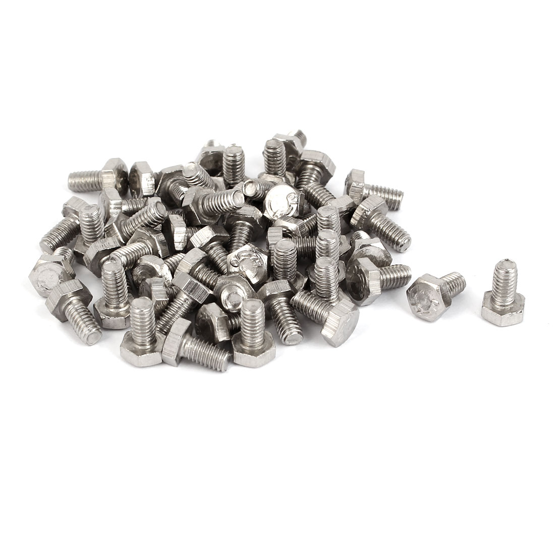 M4 x 8mm Stainless Steel Fully Thread External Hex Drive Bolts DIN 933 50PCS