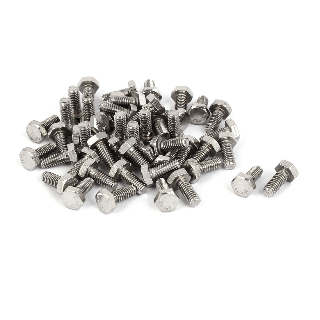 M4 x 10mm 0.7mm Pitch Stainless Steel Fully Thread Hex Screws DIN 933 50PCS
