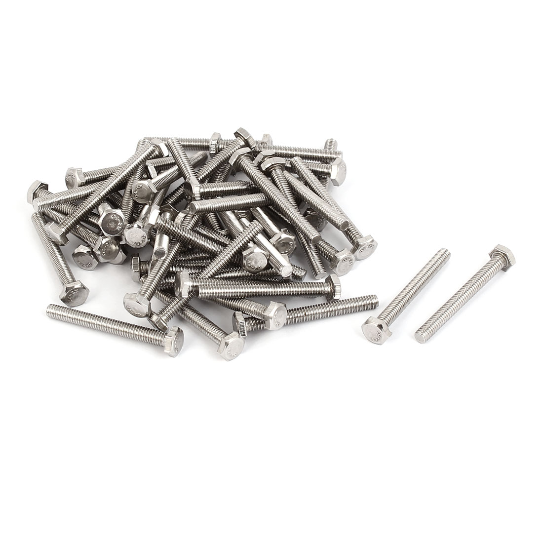 M4 x 35mm Stainless Steel Fully Thread Hex Hexagon Screws Bolts DIN 933 50PCS