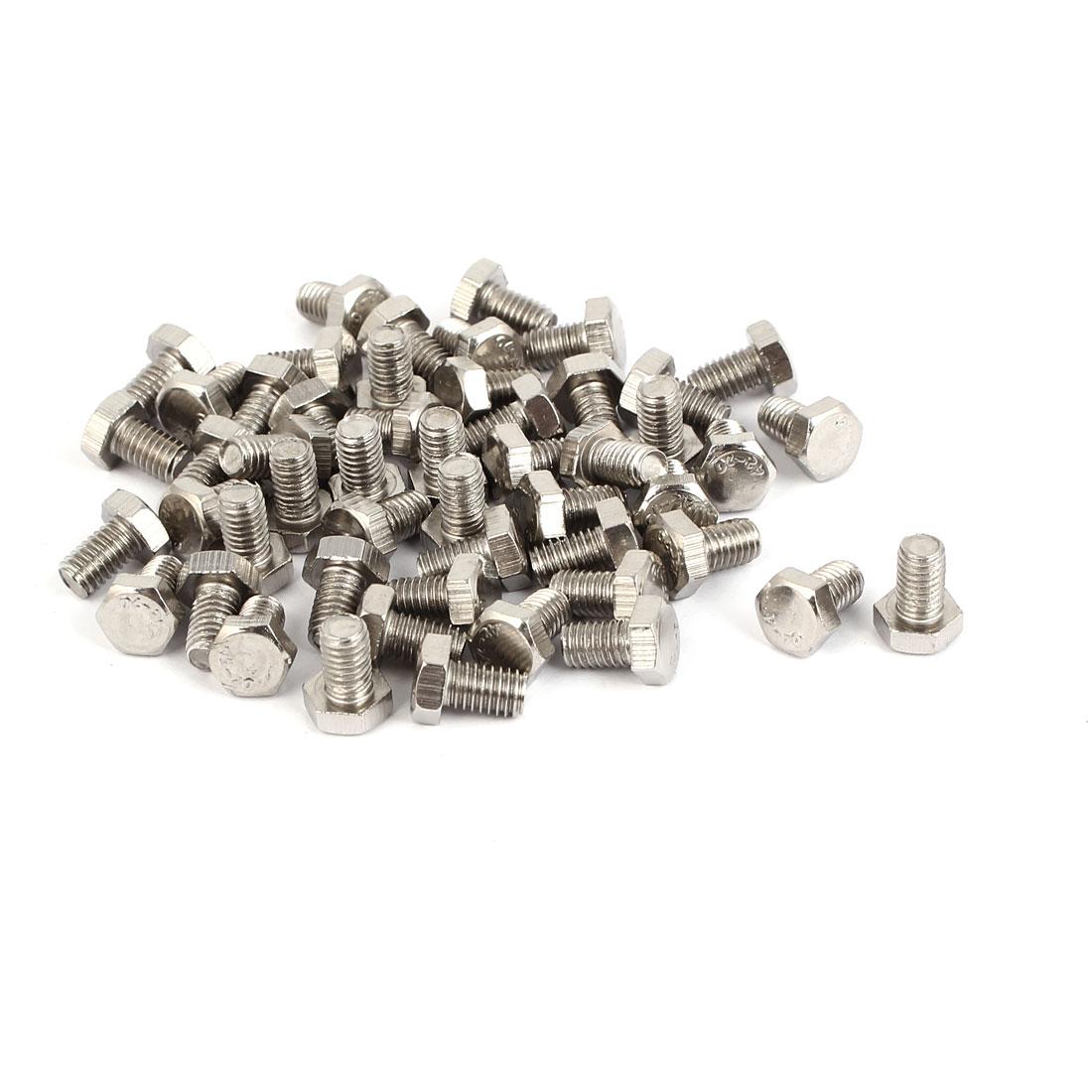 M5 x 8mm Stainless Steel Fully Thread Hex Hexagon Screws Bolts DIN 933 50PCS