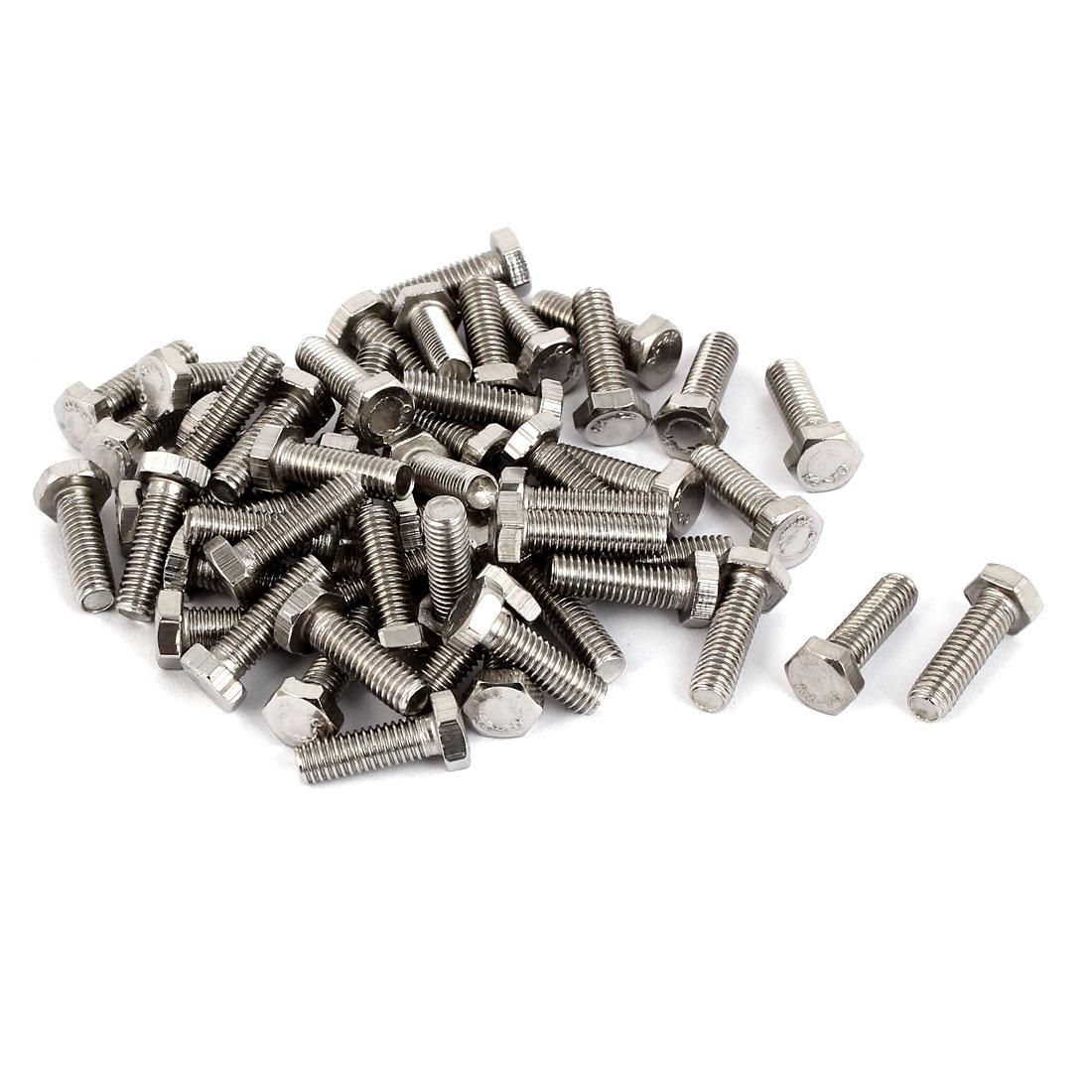 M5 x 16mm Stainless Steel External Hex Drive Hexagon Screws Bolts DIN 933 50PCS