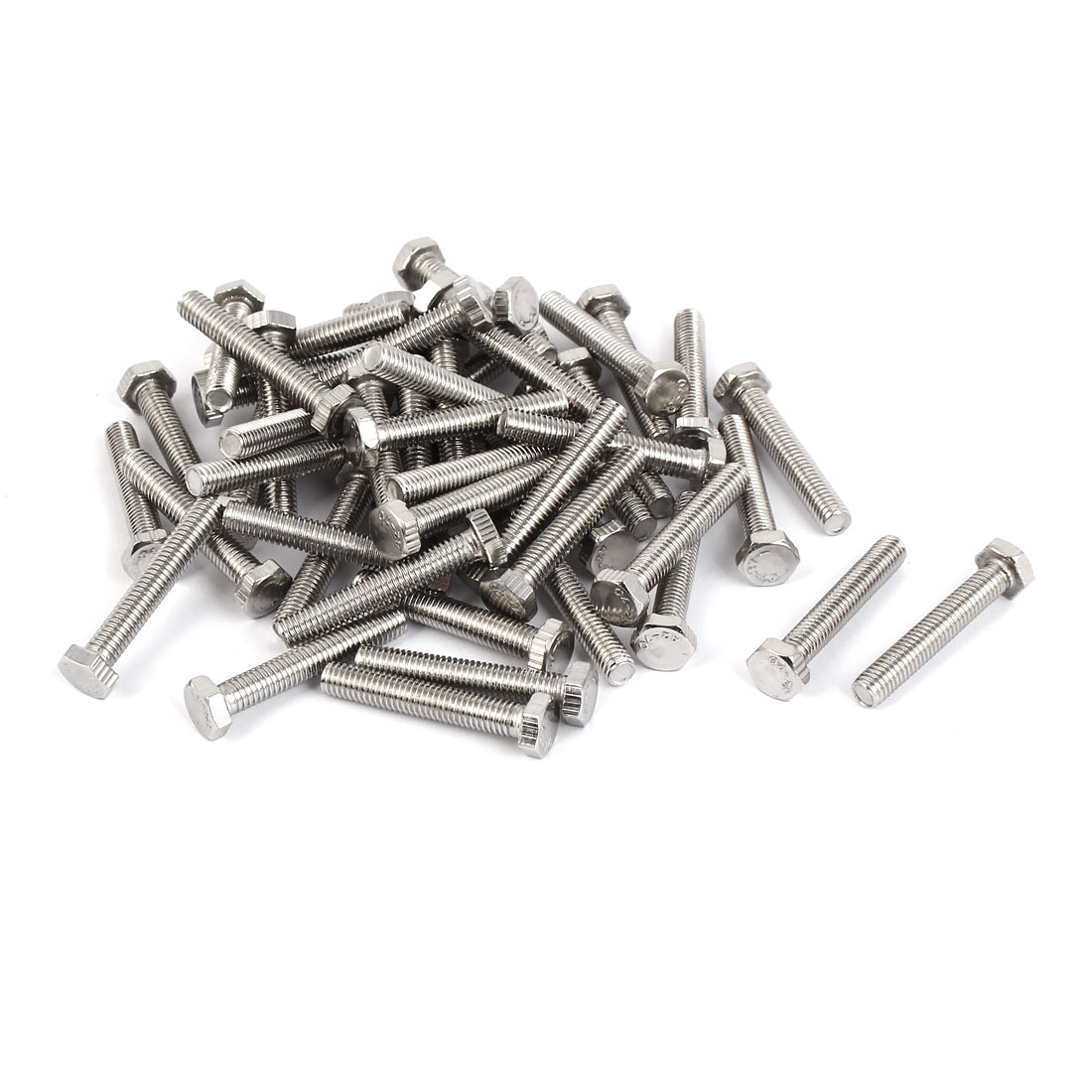 M5 x 30mm Stainless Steel Fully Thread Hex Hexagon Screws Bolts DIN 933 50PCS