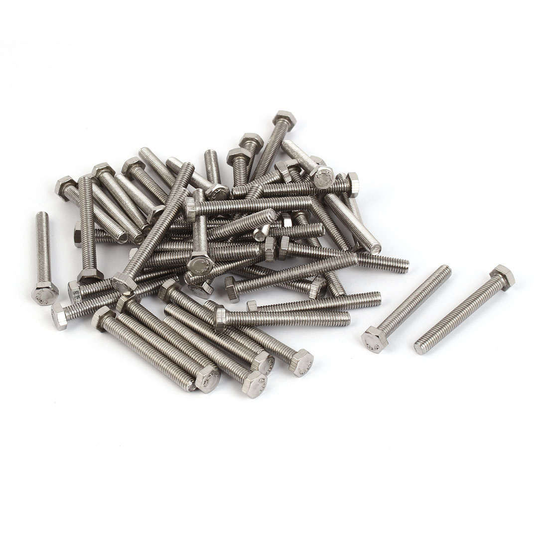 M5 x 40mm x 0.8mm Stainless Steel Fully Thread Hex Hexagon Screws Bolts 50PCS