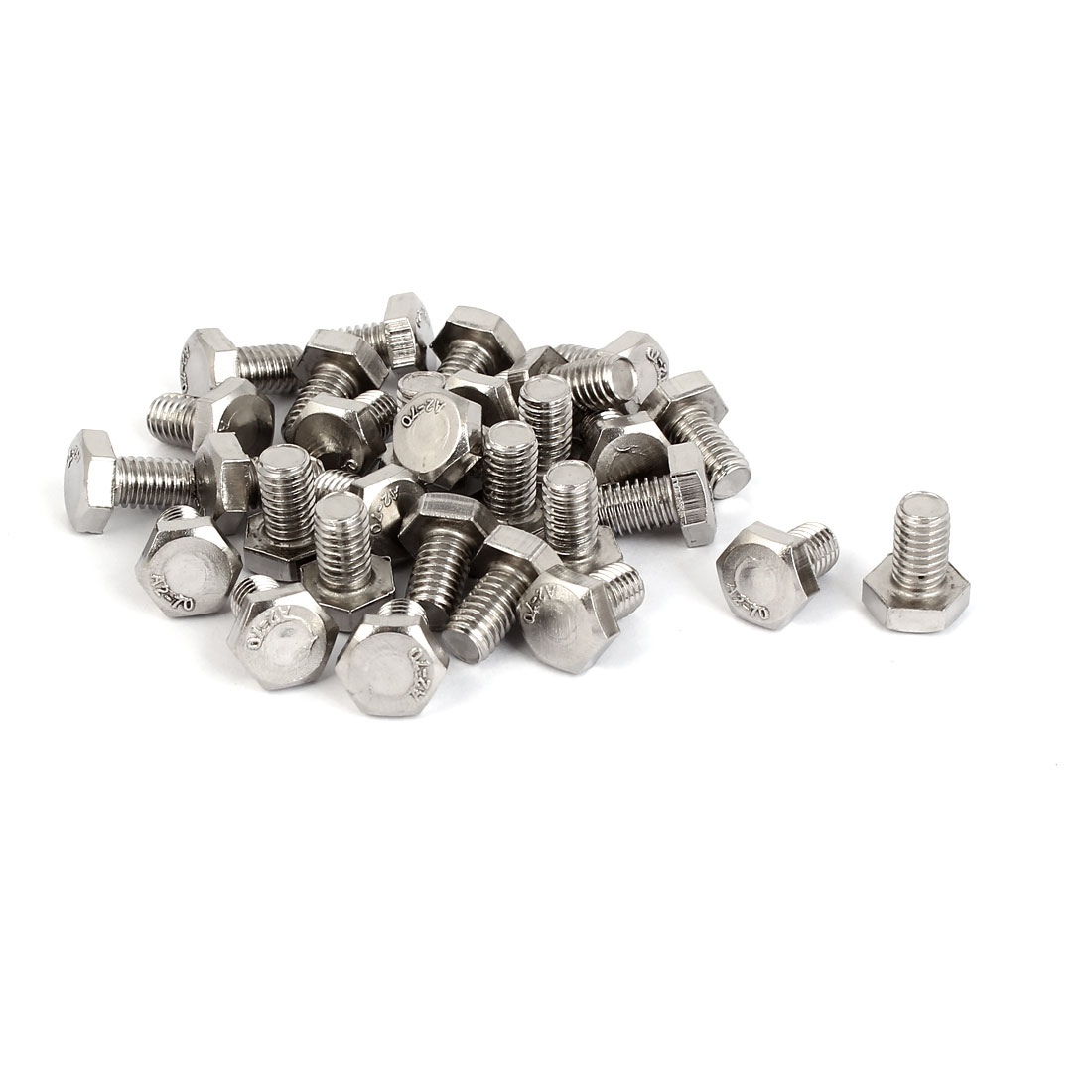 M6 x 10mm Stainless Steel Fasteners Fully Thread Hex Hexagon Screws 30PCS