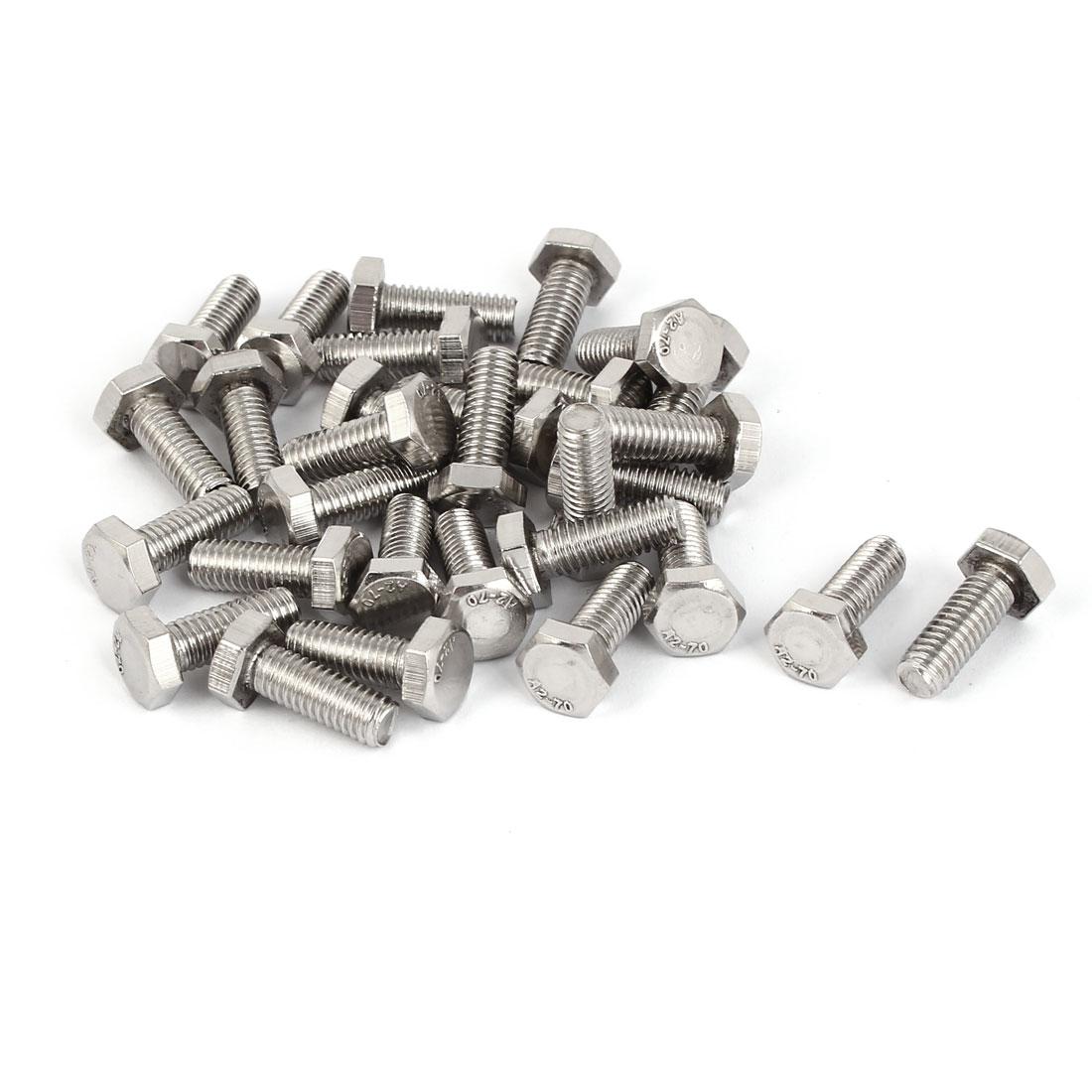 M6 x 16mm x 1mm Stainless Steel External Hex Drive Hexagon Screws Bolts 30PCS
