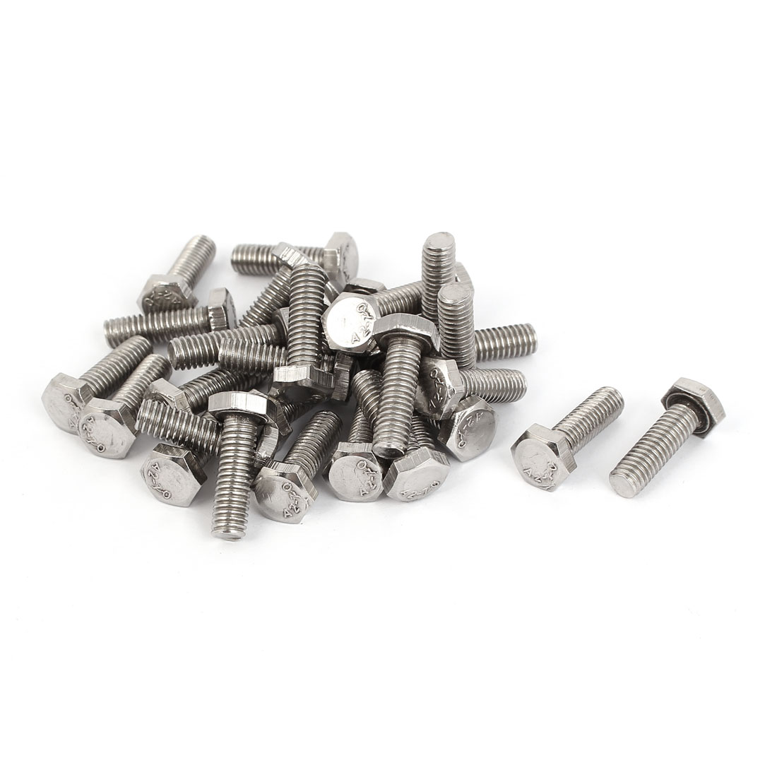 M6 x 20mm x 1mm Stainless Steel Fully Thread Hex Hexagon Screws DIN 933 30PCS