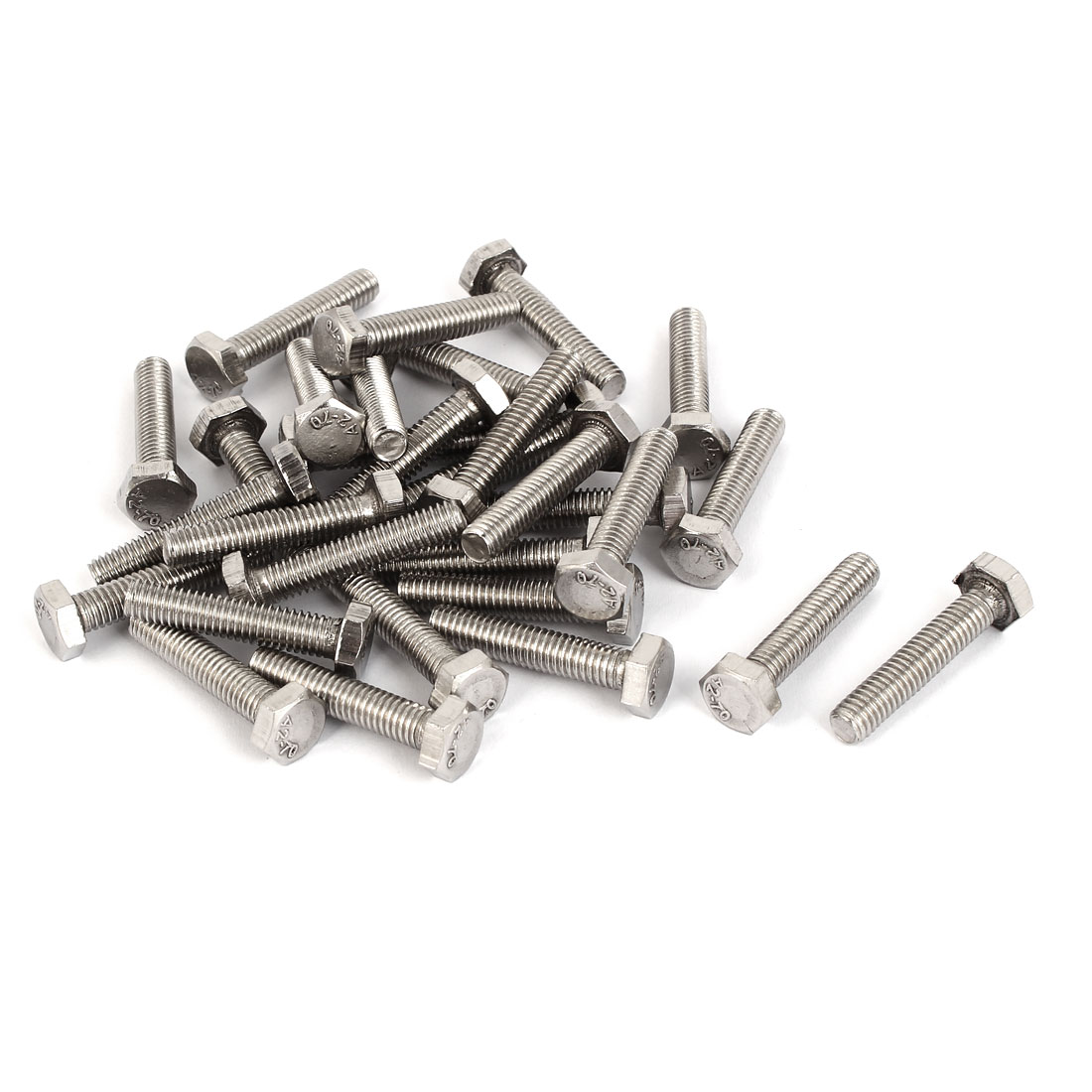 M6 x 30mm Stainless Steel Fully Thread Hex Head Hexagon Screws DIN 933 30PCS