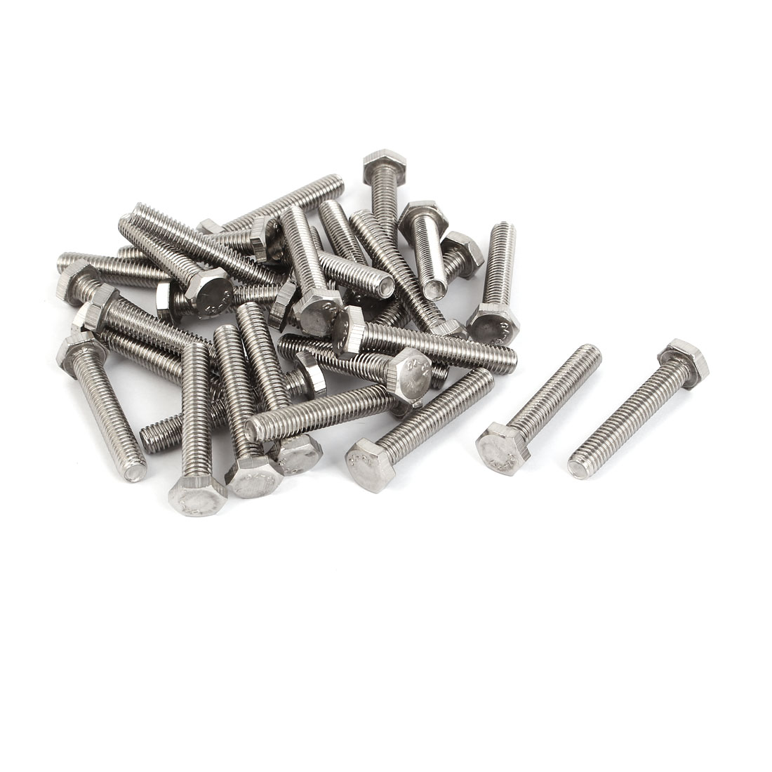 M6 x 35mm Stainless Steel Fully Thread Hex Hexagon Screws Bolts DIN 933 30PCS