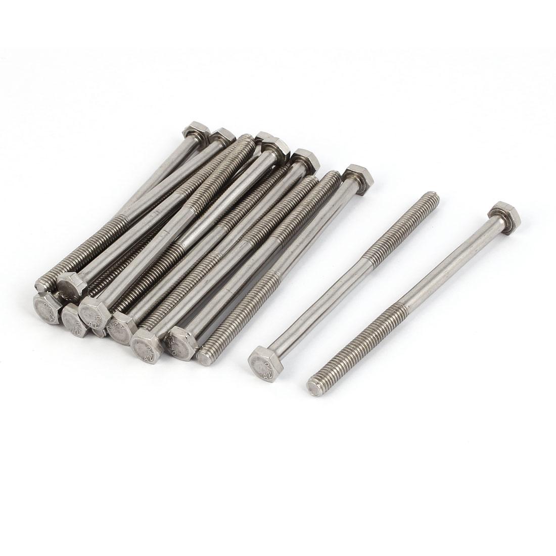 M6 x 90mm x 1mm 38mm Long Thread Stainless Steel Hex Hexagon Screws Bolts 15PCS