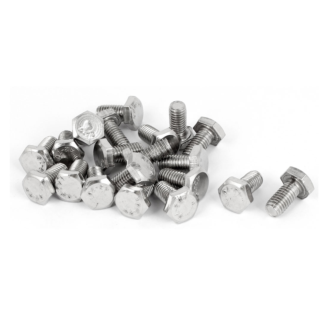 M8 x 16mm Stainless Steel Fully Thread Hex Hexagon Screws Bolts DIN 933 20PCS
