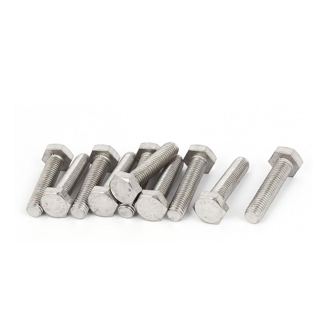 M10 x 45mm 1.5mm Pitch Fully Thread Hex Hexagon Screws Bolts DIN 933 10PCS
