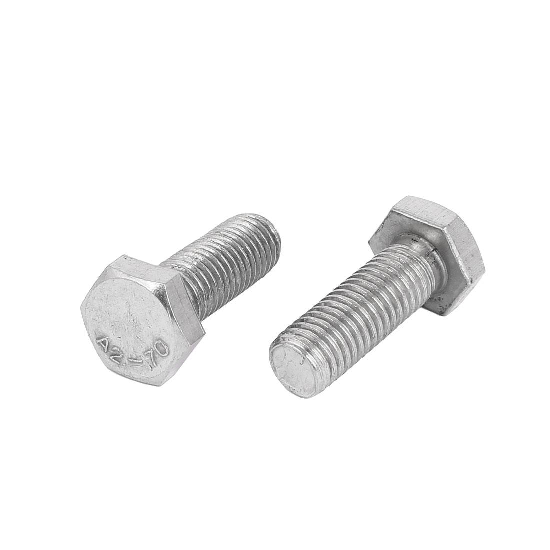 M14 x 40mm Stainless Steel External Hex Drive Hexagon Screws Bolts DIN 933 2PCS