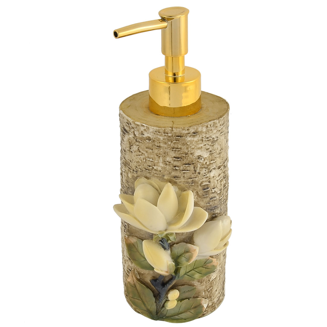 Home Bathroom Resin Flower Decor Foaming Lotion Press Pump Bottle Dispenser 300ml