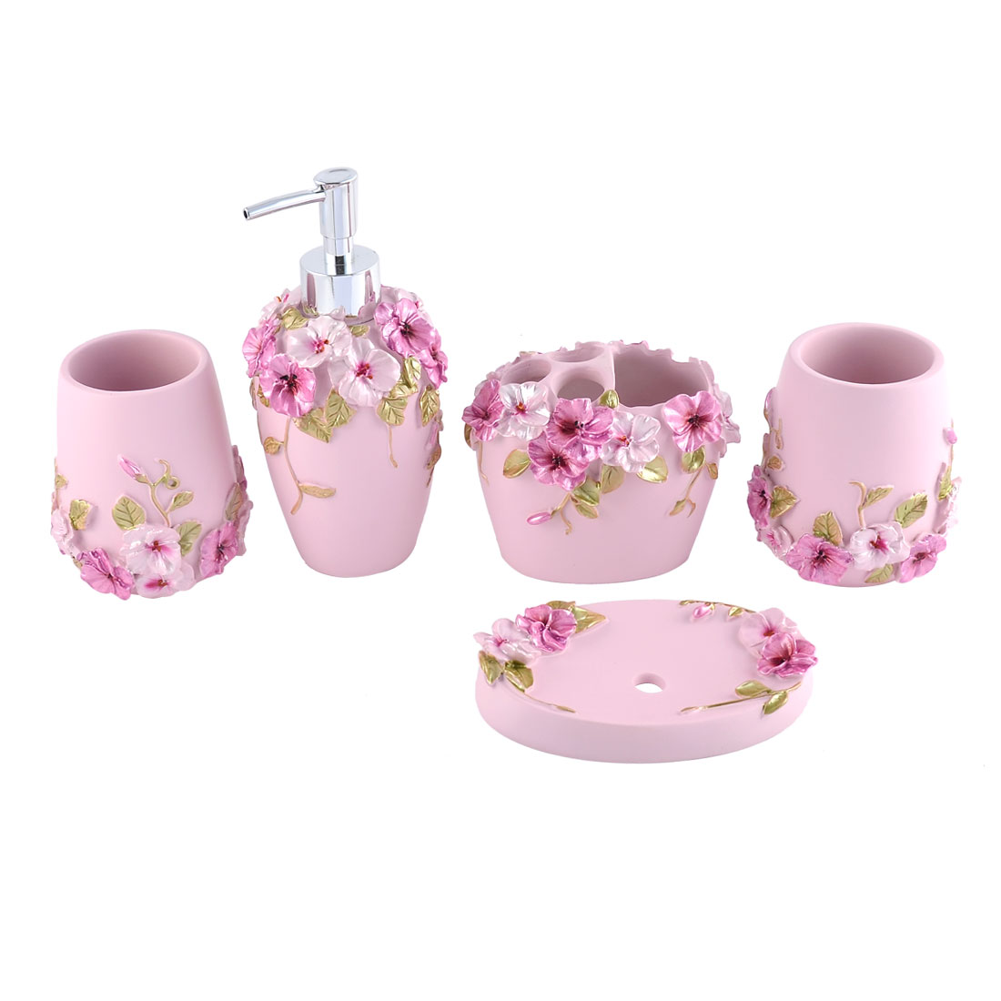 Home Bath Accessory Set Soap Dispenser Toothbrush Holder Tumbler Soap Dish 5 in 1