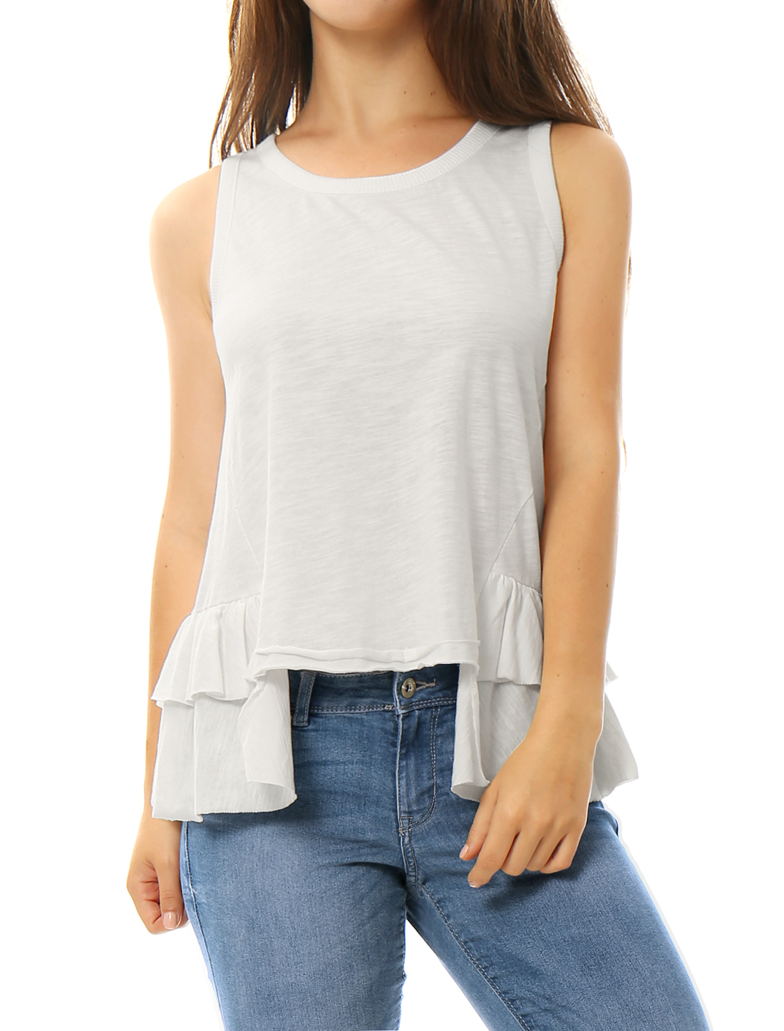 Women Scoop Neckline Layered Ruffle Hem Tank Top White L