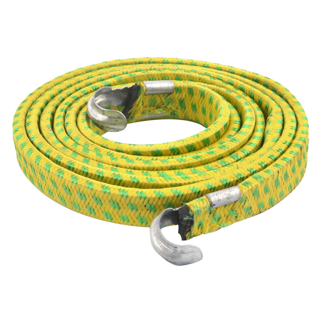 Bike Bicycle Luggage Metal Hook Clasp Stretchy Braid Rope Cord Yellow Green 1.9M