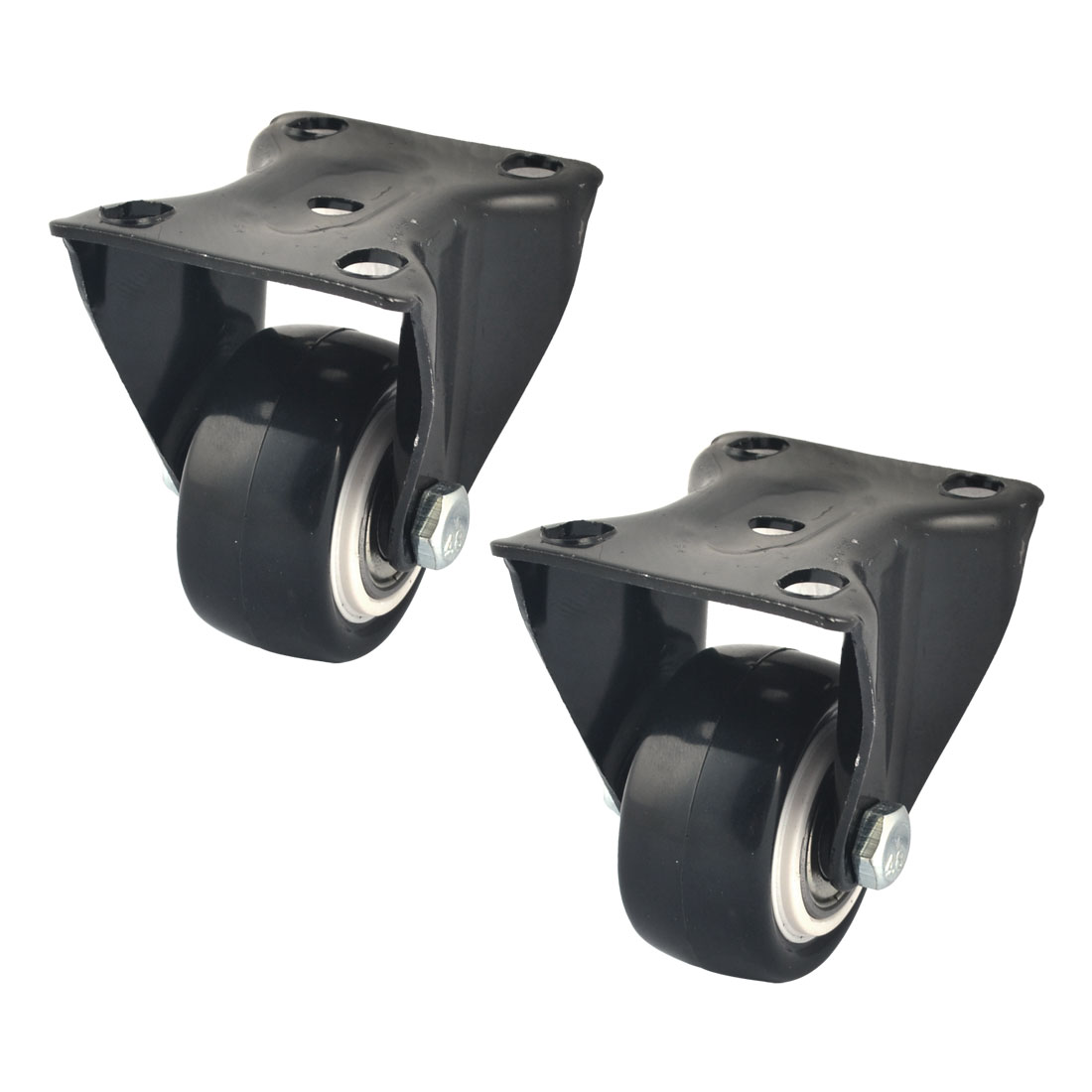 Nylon Roller Metal Rectangle Mounted Top Plate Caster Wheels 41mm Dia Black 2pcs