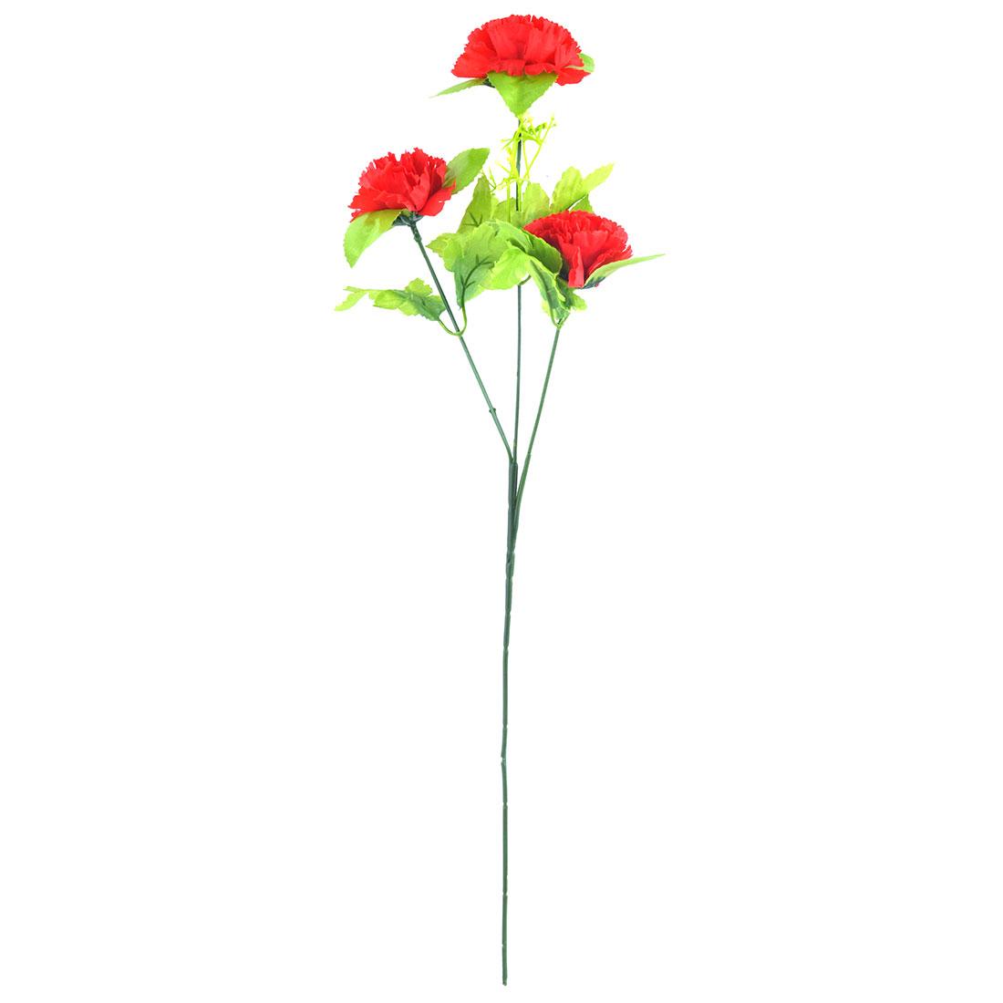 Artificial Emulational Carnations Flower Bouquet Home Garden Decoration Red
