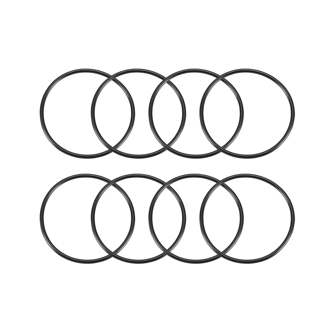 8 Pcs 70mm Diameter x 3mm Height O Type Sealing Ring Black Rubber