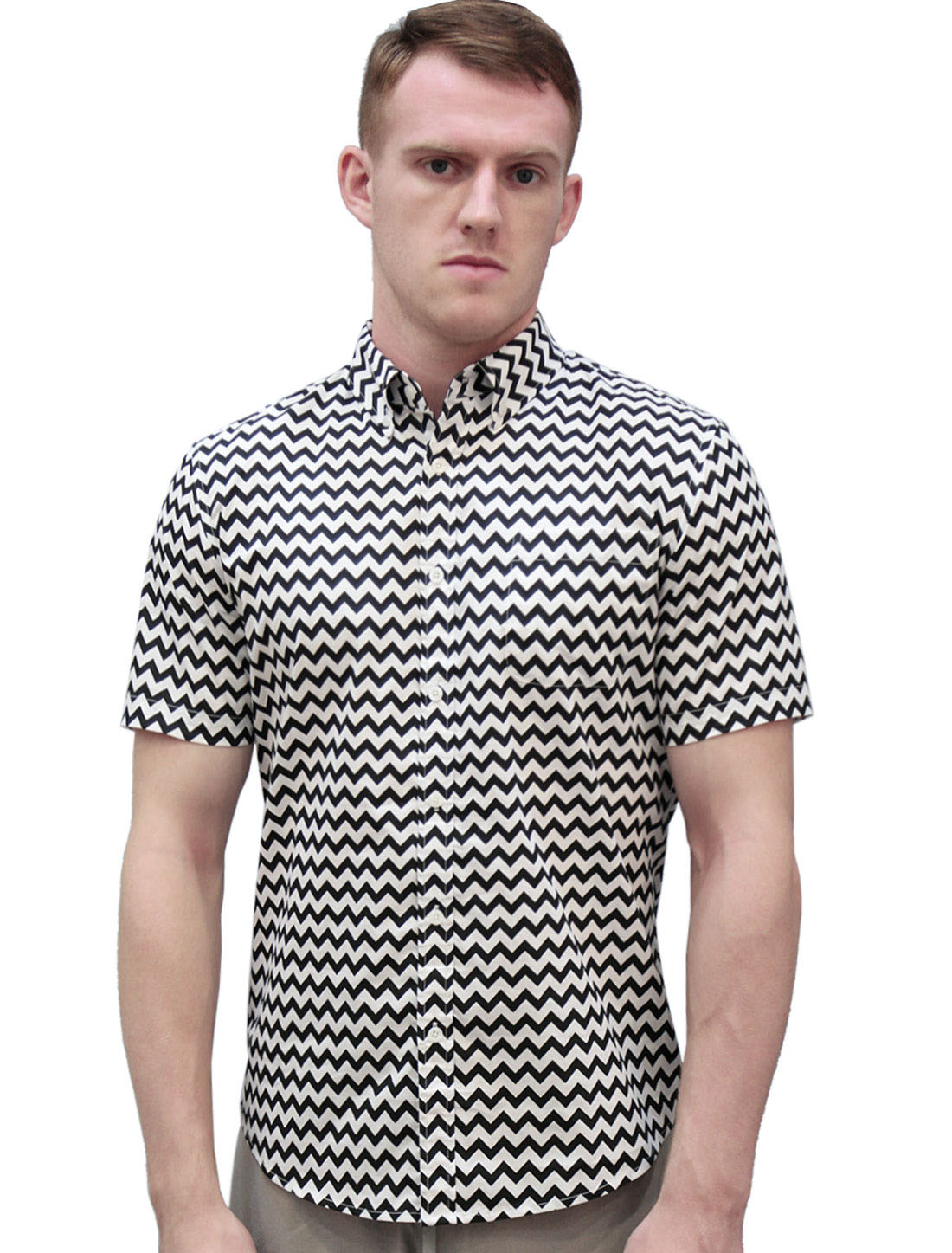 Men Chevron Print Short Sleeves Pocket Shirt Black White L