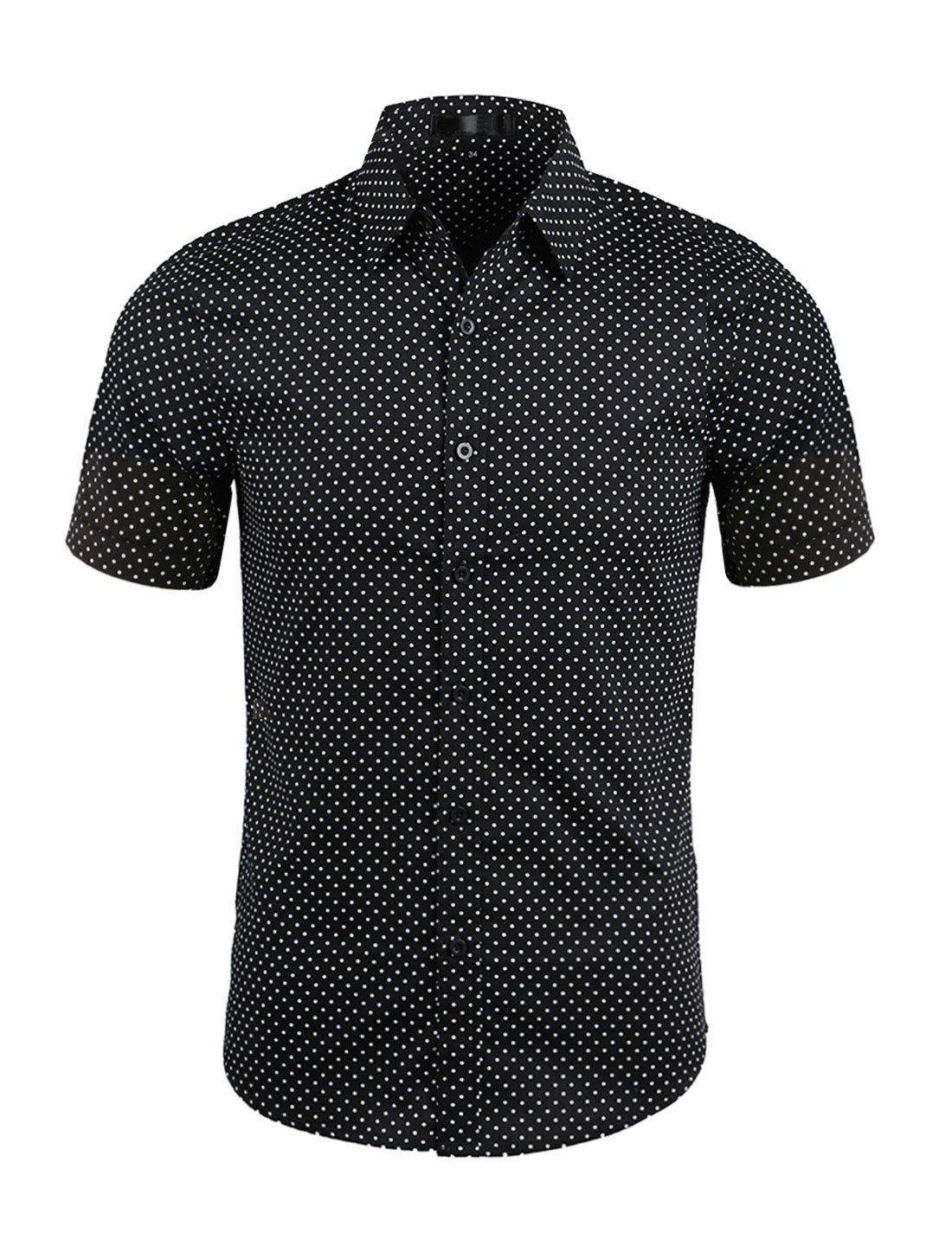 Men Dots Point Collar Short Sleeves Button Up Shirt Black L