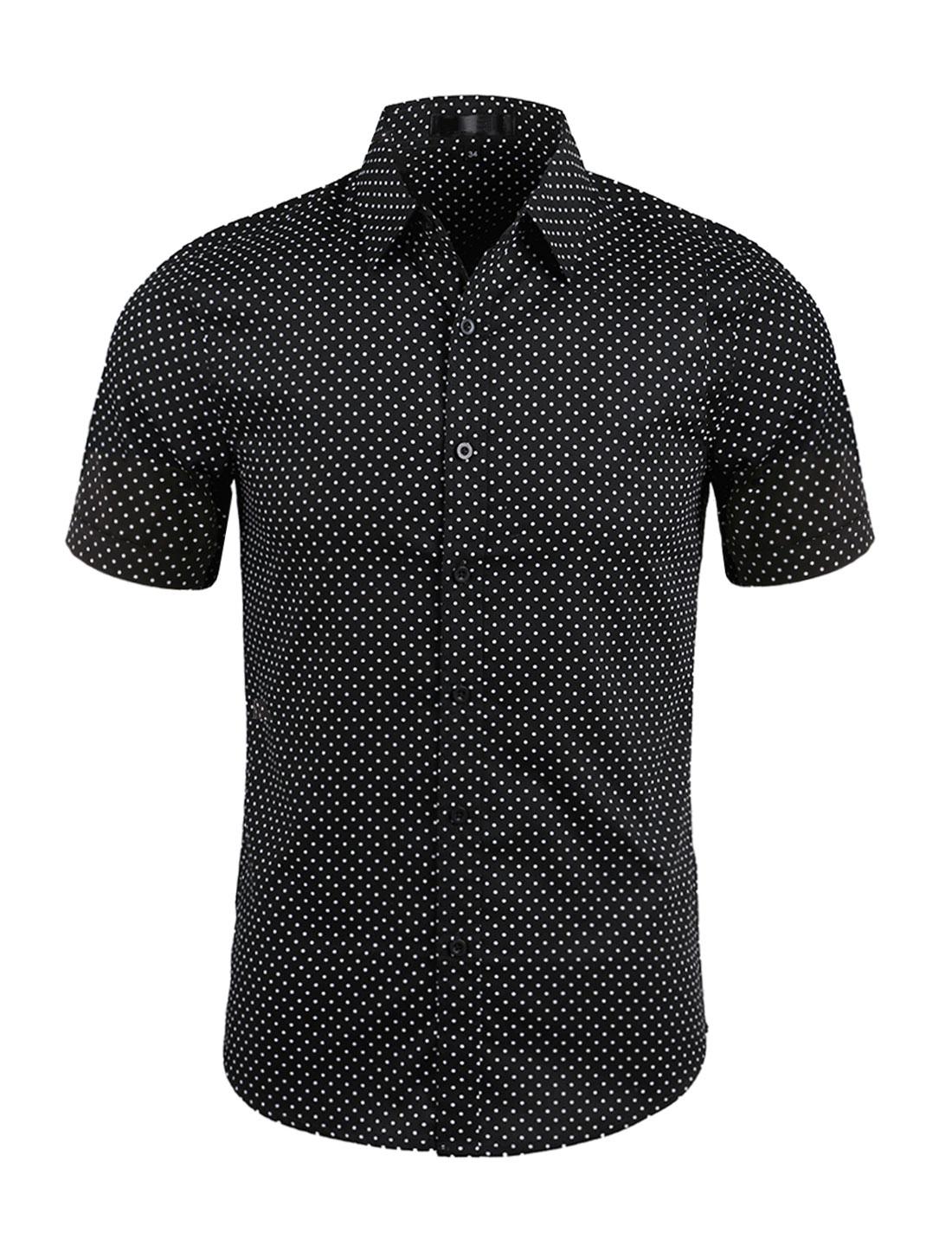 Men Dots Point Collar Short Sleeves Button Down Shirt Black L