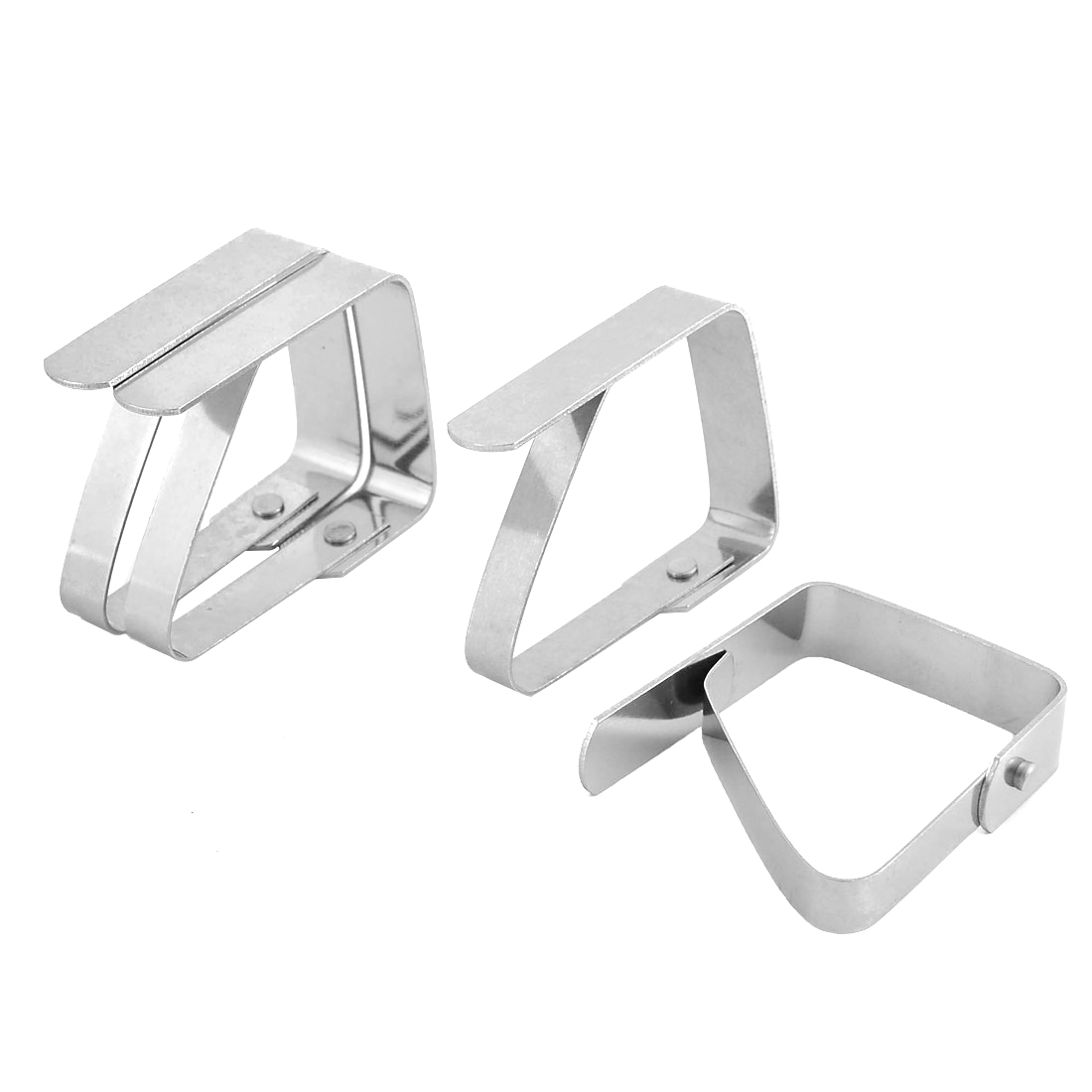 Home Kitchen Teapot Stainless Steel Table Cloth Holders Clip Clamp Silver Tone 4pcs