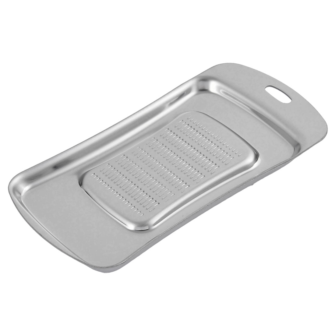 Kitchen Stainless Steel Rectangle Shaped Ginger Garlic Grater Sliver Tone