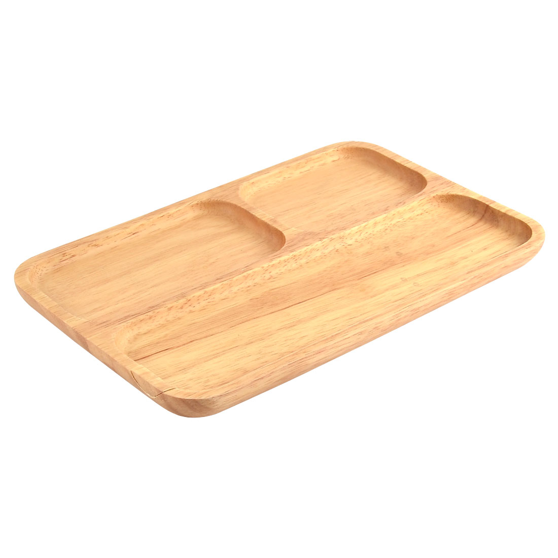 School Canteen Wood Grain Pattern Lunch Dinner 3 Sections Divided Platter Tray