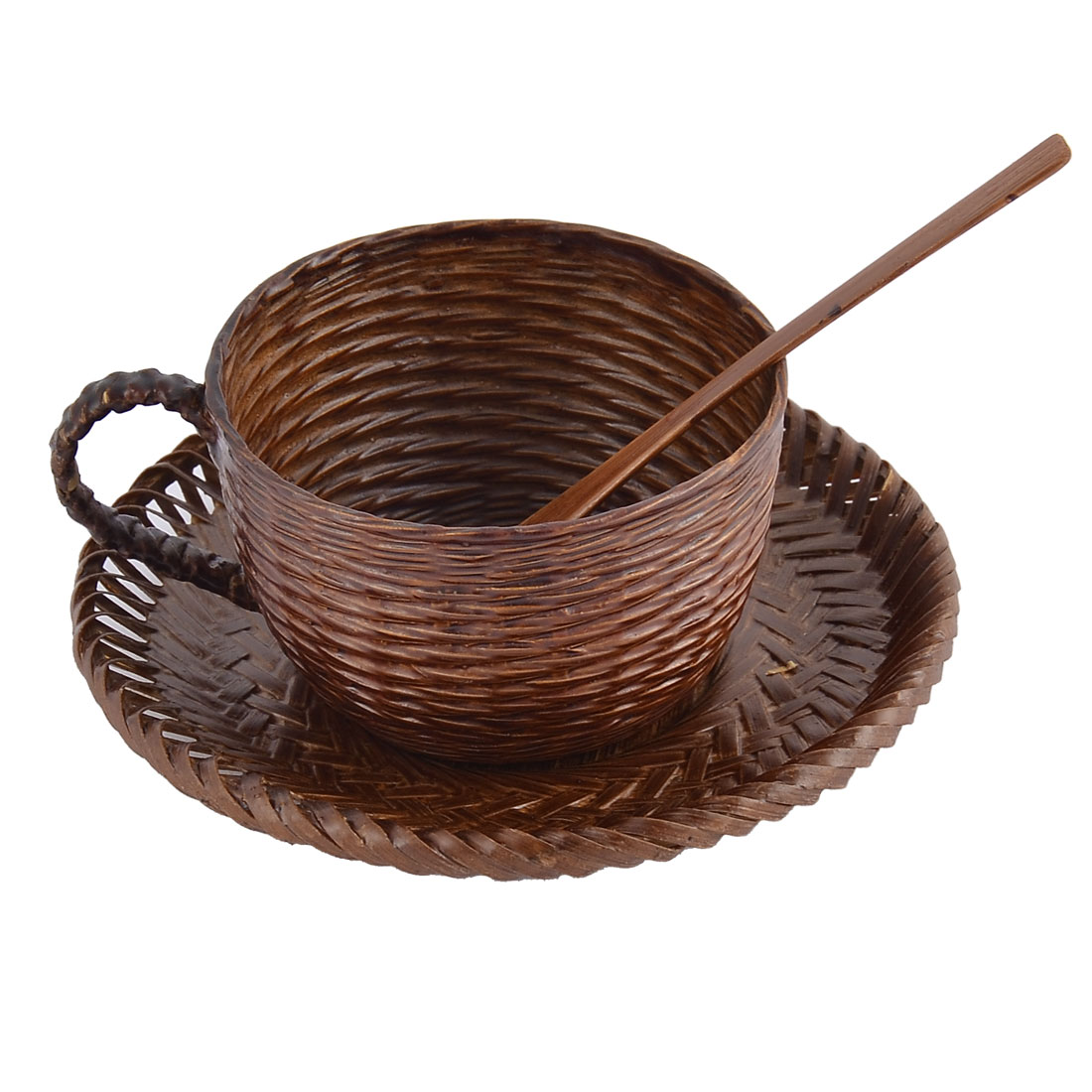 Restaurant Rattan Mini Mixing Spoon Cup Mat Drinking Coffee Tea Set Dark Brown