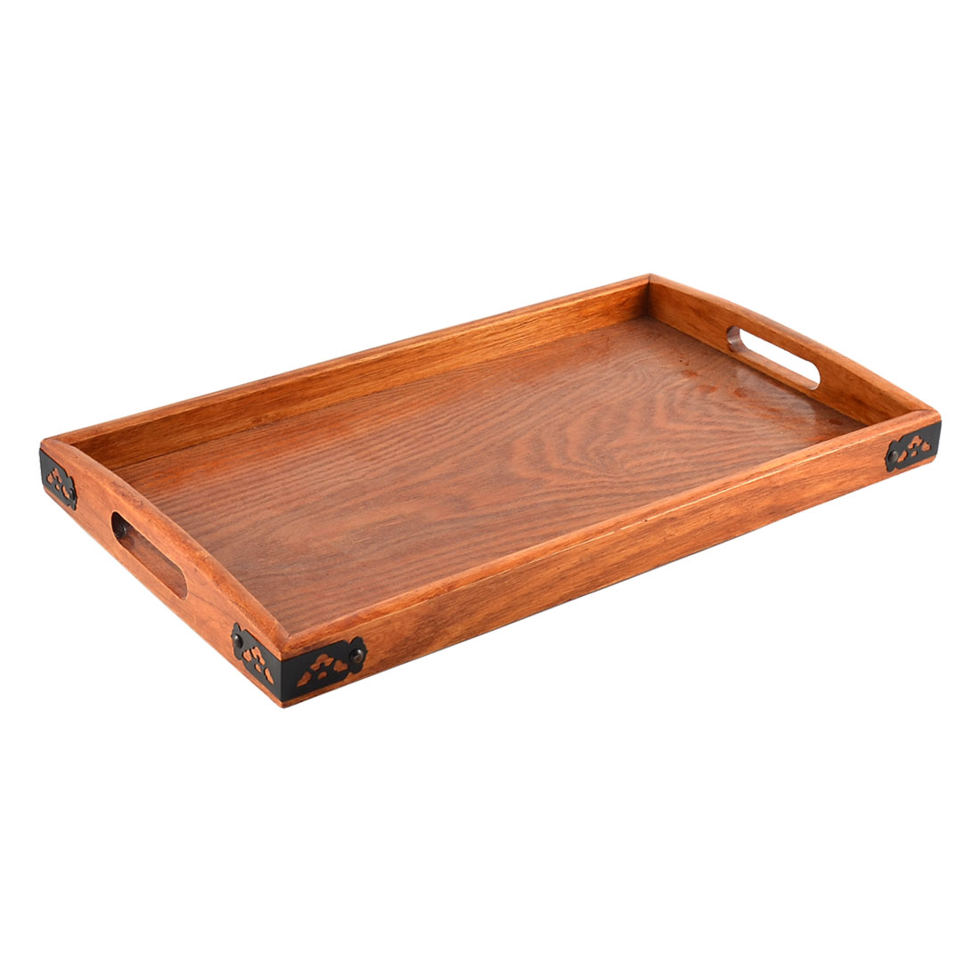 Restaurant Wood Rectangle Shape Lunch Food Serving Tray Container Dark Brown