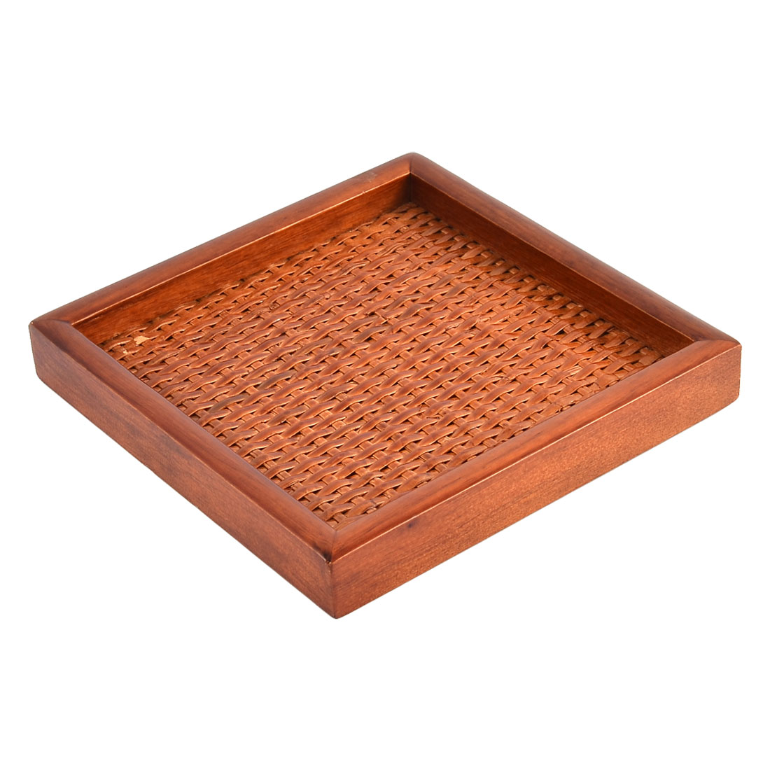 Restaurant Wood Rectangle Shape Lunch Food Serving Tray Container 15*15*2cm