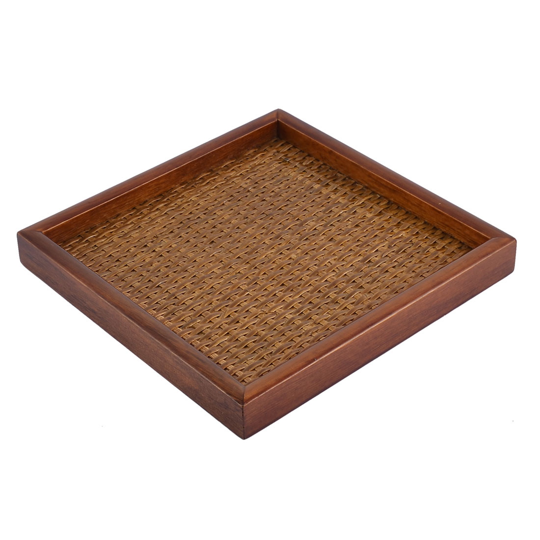 Restaurant Wood Rectangle Shape Lunch Food Serving Tray Container 18*18*2cm