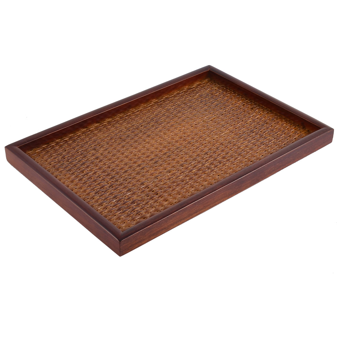 Restaurant Wood Rectangle Shape Lunch Food Serving Tray Container Brown